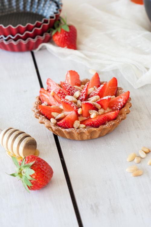 tartelette fraise miel pignon