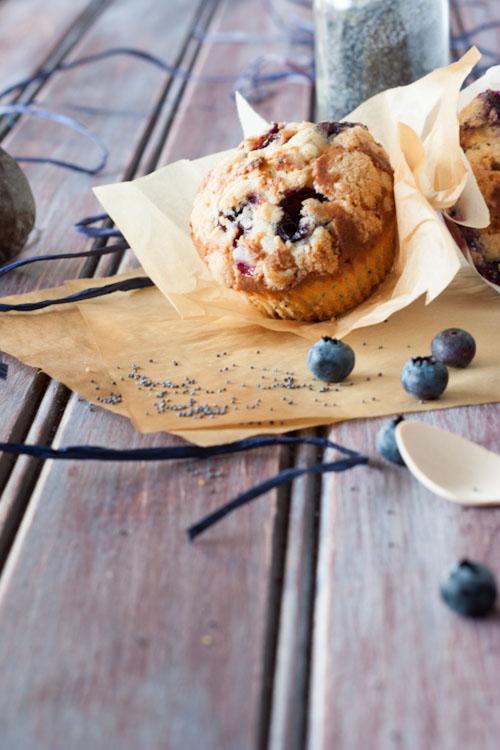 muffins myrtilles, pavot et fruits de la passion
