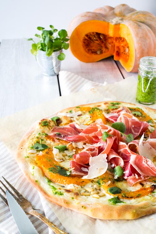 Pizza Courge-Jambon de Parme & Pesto de Cresson