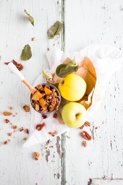 pommes fondantes façon crumble au noix de pécan et à l'erable