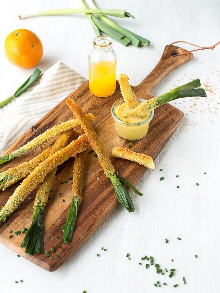 poireaux panés vinaigrette à l'orange-6