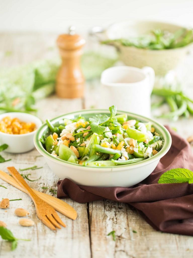 GREEN SALADE - haricots, tomates vertes, chèvre, amandes & raisins